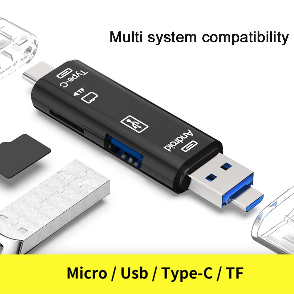 Review Universal Type-C Android Micro USB OTG Headers Computer 3 in 1 Card Reader ความเร็วสูงสำหรับ Extension TF