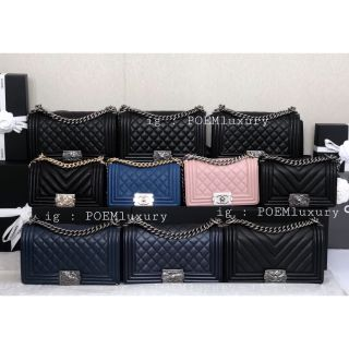 Review Chanel Boy10 / 8 Caviar / Lamb RHW / GHW Full set Price : 169999฿