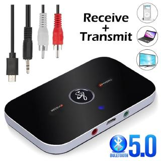 Bluetooth 5.0 ตัวรับสัญญาณเสียง Transmitter 2 IN 1 RCA 3.5MM 3.5 AUX Jack USB Stereo Music Wireless Adapters For TV Car PC