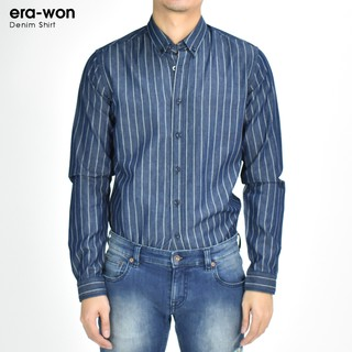 Review era-won เสื้อเชิ้ต Denim shirt Antibacteria สี Bruno