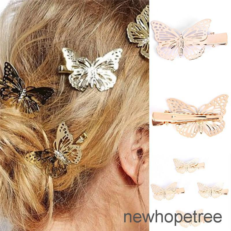 Review NHTH 1pc Women Shiny Golden Butterfly Hair Clip ที่ติดผม  Hair Accessories