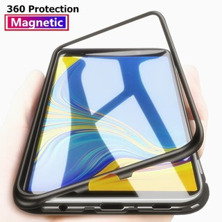 Review Samsung Galaxy A7 2018 J4 J6 J8 A6 A8 Plus A9 2018 Metal Tempered Glass Magnetic Adsorption Case เคสแข็ง