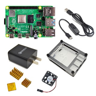 Official 8G Raspberry Pi 4 Model B Starter Kit with Power Switch Line/ US Charger Adapter/9 Layers Case