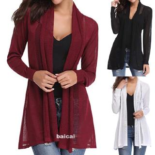 Review Autumn Daily Fashion Lightweight Long Sleeve Mesh Solid Open Front Women Cardigan