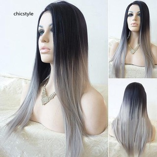 Review CCS_Women's Sexy Long Straight Wig Hair Heat Resistant Black Ombre Grey Party Wigs