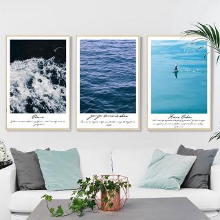【Master of Painting】Blue seawater decorative painting seascape landscape canvas wall decoration living room bedroom home decoration triple painting