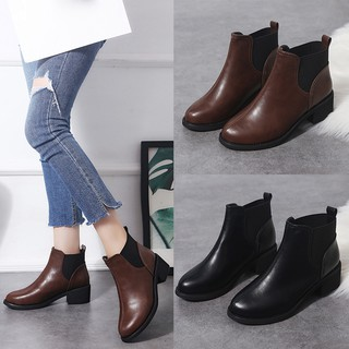 Review julyer-Women Square Heel Shoes Martain Boot Leather Solid Color Round Toe Slip-On Shoes
