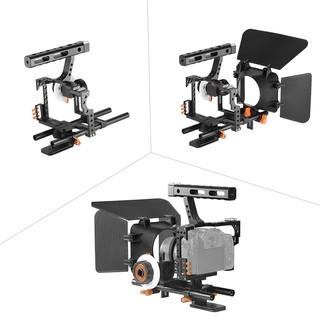 Andoer C500 Aluminum Alloy Camera Camcorder Video Cage Rig Kit Film Making System w/ Matte Box + Follow Focus + Handle