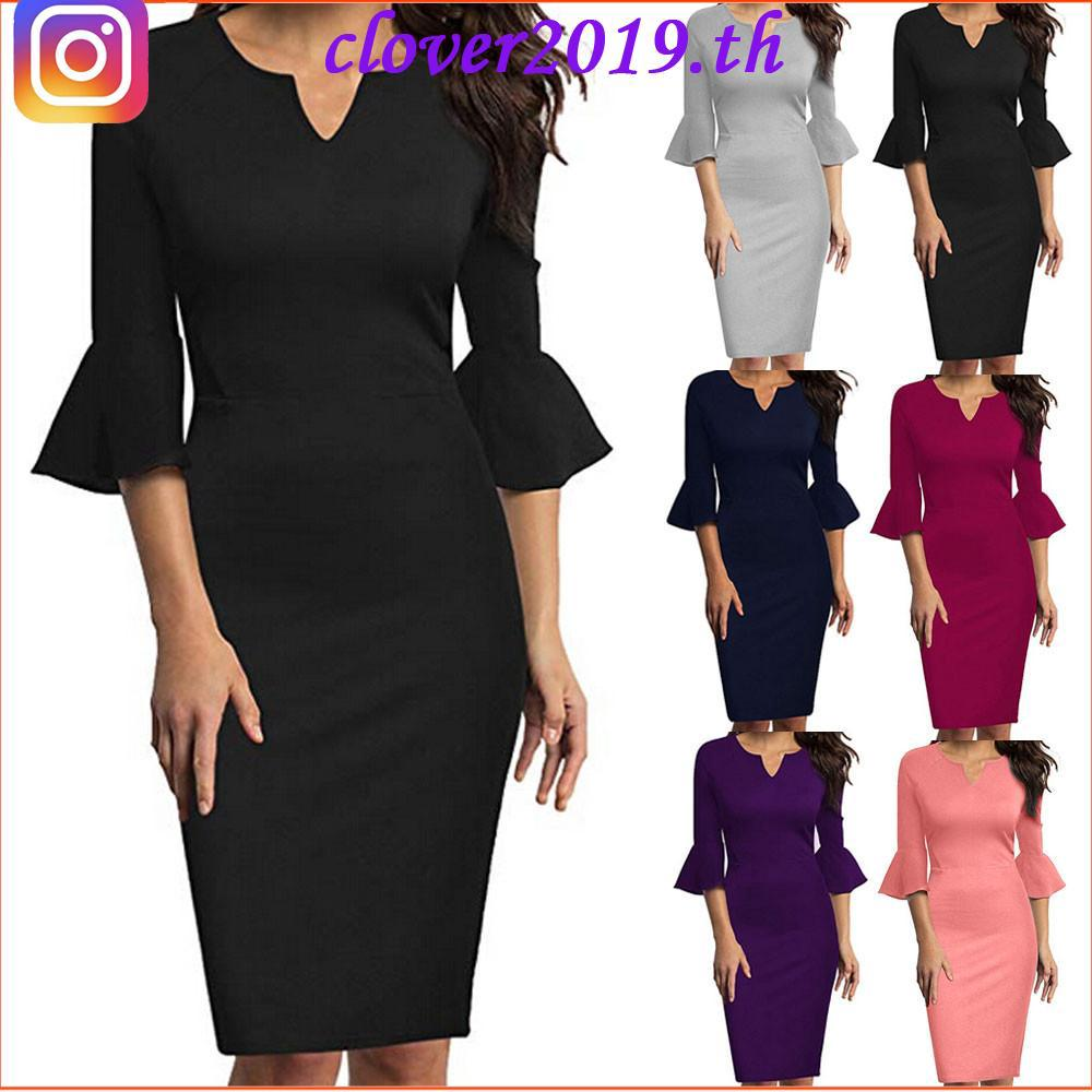 Review COD-Women Sexy V-Neck Flounce Bell Sleeve Office Work Casual Pencil Dress-550
