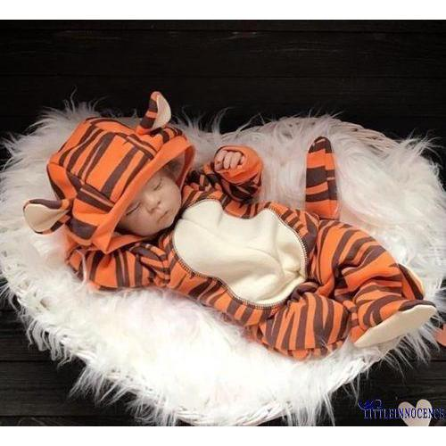 Review TNE-Cute Kid Newborn Baby Boy Girl Hooded Romper 3D Tiger Outfits Bodysuit Jumpsuit 0-18M