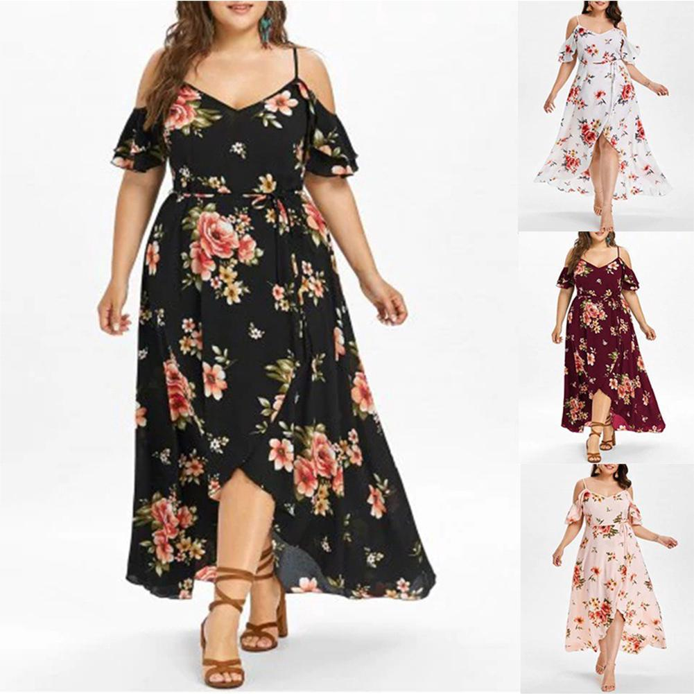 Review Women Beach Casual Cold Shoulder Floral Party Plus Size Ruffle Hem Summer V Neck Spaghetti Strap Maxi Dress