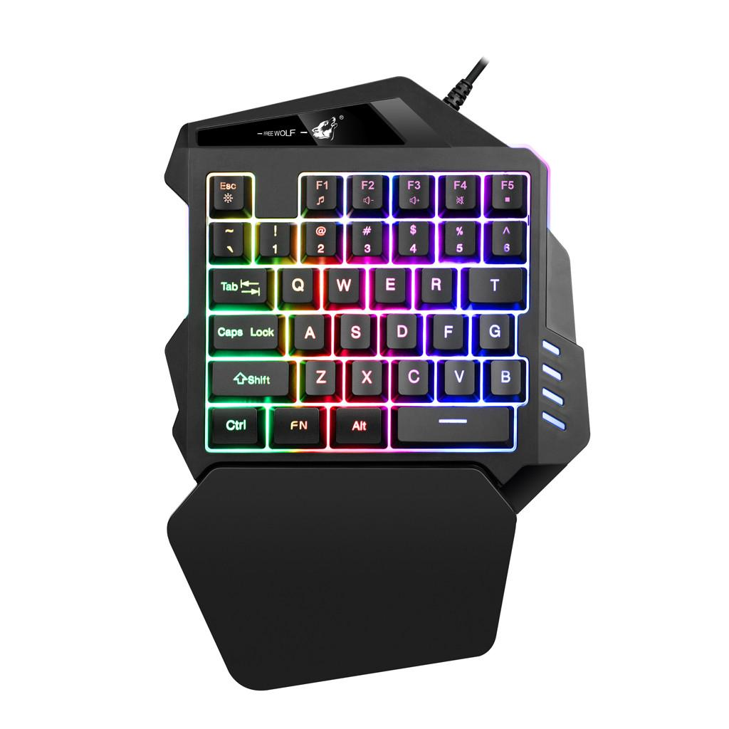Review HOT SALE ของแท้ 100% LED Backlit Usb Ergonomic Single-Hand Keypad Gaming Keyboard
