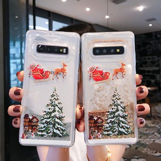 Review Samsung S10 S7 Edge Note 10 Pro S8 Plus S9 Merry Christmas Tree Patterned Glitter Liquid Bling Quicksand Soft Case Cover