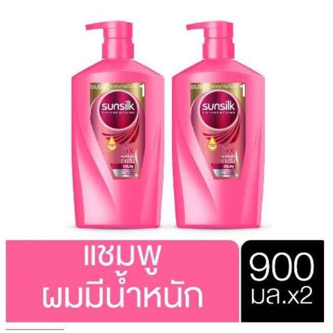 SUNSILK Shampoo Smooth and Manageable Pink 900 ml (2 pcs) ซันซิลแชมพู สูตรผมมีน้ำหนัก จัดทรงง่าย 900