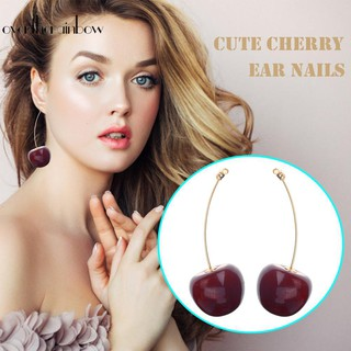 Review ♪Earring♪Sweet Resin Cherry Dangle Ear Stud Women Fruit Drop Earrings Jewelry Gift