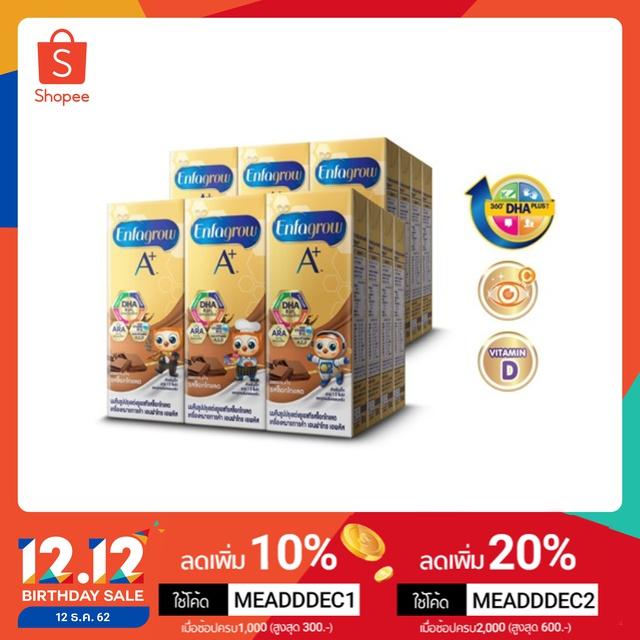 [ขายยกลัง] Enfagrow A+ เอนฟาโกร เอพลัส นม UHT รสช็อกโกแลต 180 มล. จำนวน 24 กล่อง