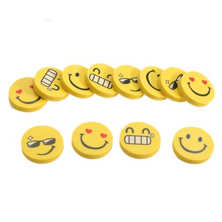 Yuange✨12pcs Cute Funny Emoji Smile Face Rubber Pencil Eraser Students Stationery Gift