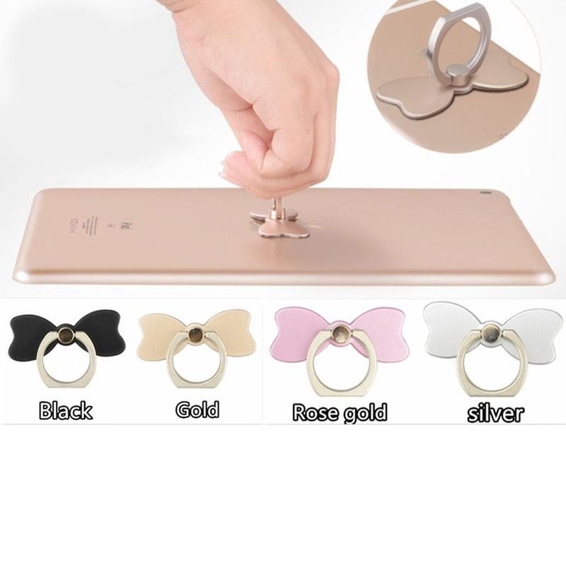 Review Cute Bow 360 Finger Ring Mobile Phone Stand Holder Hook Phone Mount Finger Grip for Phone