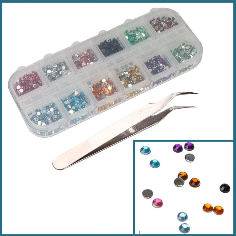 Review 2mm Round Nail Art tips Rhinestone Case with Tweezers Hot