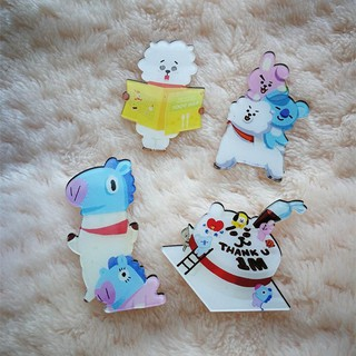 The best Kpop BTS BT21 Cute MANG RJ Badges Acrylic Mini Brooches Pin Clothes