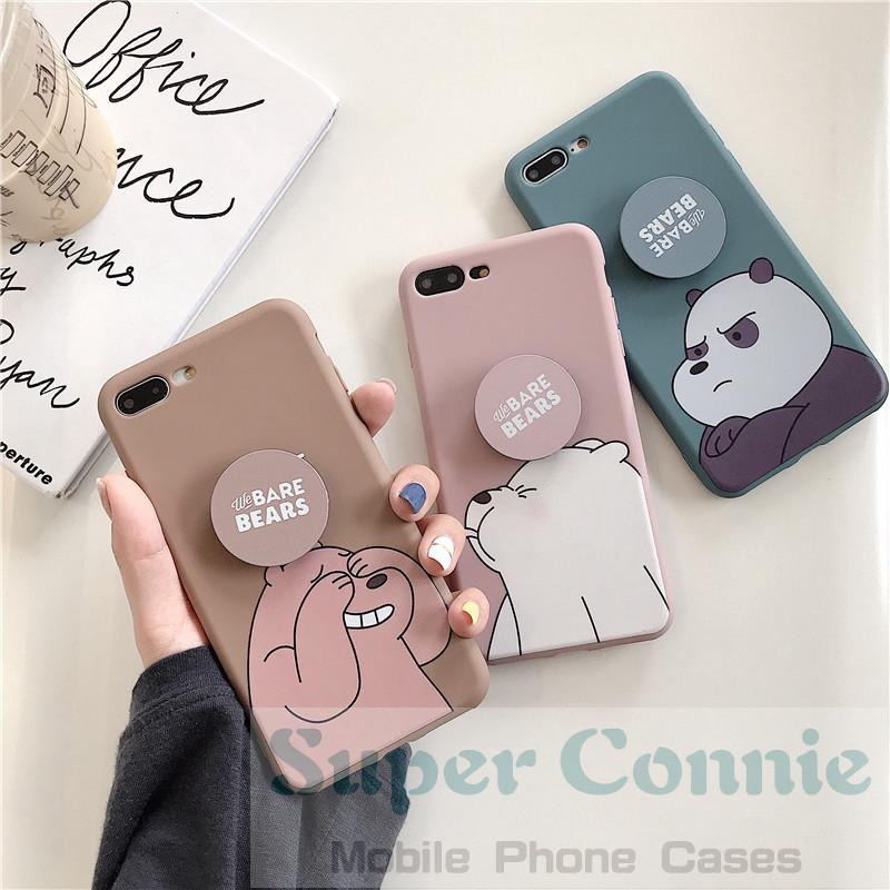 Review Case Vivo s1 v11 v11pro y17 y15 y91 Y71 Y81 V5 V9 V7 V7plus Lovely Cartoon We Bare Bears Soft TPU Back Cover With Stand