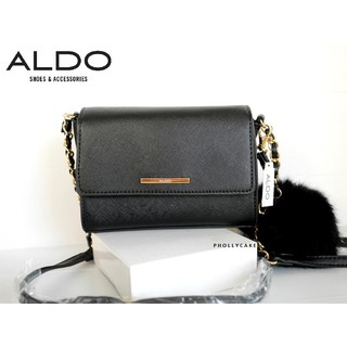 Review กระเป๋าสะพาย Aldo Astoewiel Crossbody Bag Neutral with Pom Pom
