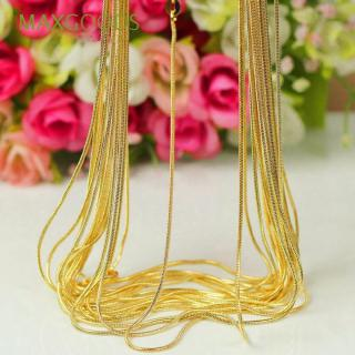 Simple DIY 18K Yellow Gold Filled Jewelry 16-30 Inch Snake Chain สร้อยคอ