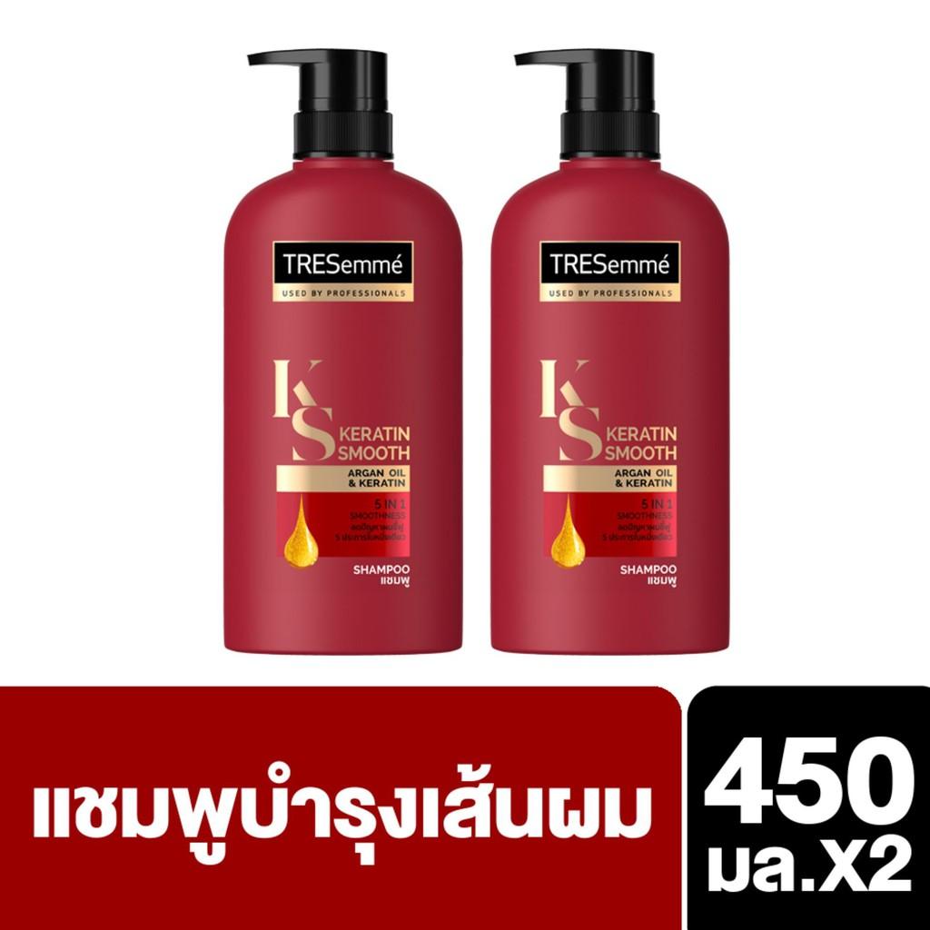 TRESemmé Shampoo Keratin Smooth Red 450 ml (2 Bottles) เทรซาเม่ แชมพู เคอราตินสมูท แดง 450 มล. (2 ขว