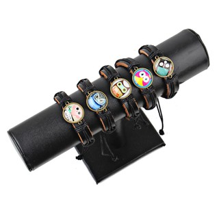 Cute Lovely Round Owl Woven Leather Wrist กำไล for Women Vintage Jewelry
