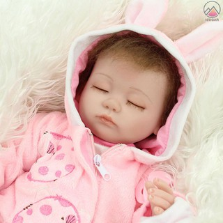Review Decdeal 16inch 40cm Reborn Baby Doll Lifelike Eyes Open Silicone Vinyl Cute Gifts Toy Pink Outfit with Lovely Cat Dress