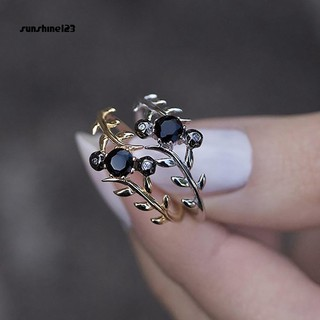 Review Sunshine_Fashion Simple Women Thin Leaf Rhinestones Inlaid Finger Ring Party Jewelry Gift