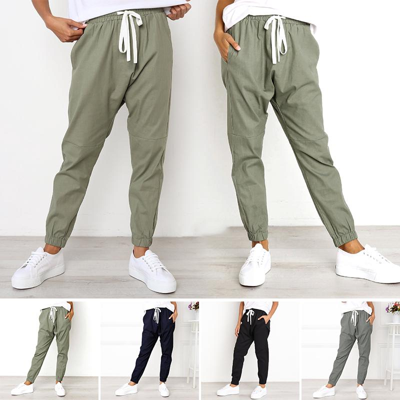 Women Sport High Waist Lace Up Pants Trousers Jogger Sweatpants Casual Plus