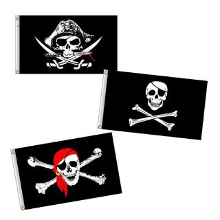 Review jinzhoutianmu 1PC 60*90 Pirate Bunting Flag Banner Print Skull Flag Party Bar Halloween Decor