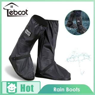 TeBoot รองเท้าบูทกันฝน Rain Boot Long Black Anti-slip Waterproof Overshoes Shoes Cover  with Elastic String (1 Pair)