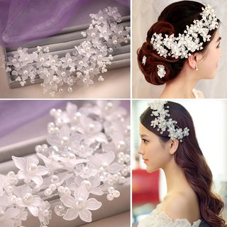 Faul Pearl Crystal Bridal Wedding Brides Flower Wire ปิ่นปักผม Hairpin
