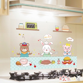 Kitchen oil-proof stickers, high-temperature wall stickers, countertops, range hoods, kitchen tiles, waterproof self-adhesive wall paper, cartoon