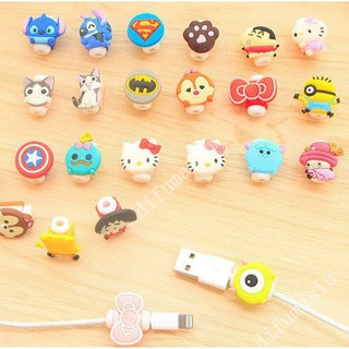 Cute Cartoon Cable Protector Hello Kitty Supermen iPhone USB Saver A