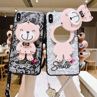 Review Xiaomi Mi A1 A2 Mi 8 9 SE Mi8 Lite Note 3 Redmi GO 5 Plus 5A 4A 4X S2 6 6A 7 7A Phone Case Cartoon Bear Mirror Cover