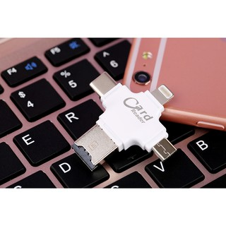 Micro USB Type C 8 pin OTG Micro SD TF Card Reader สำหรับ IOS Android PC Mac