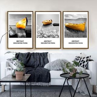 【Master of Painting】Black and white landscape golden boat home decoration painting background wall wall decoration triple painting canvas with frame