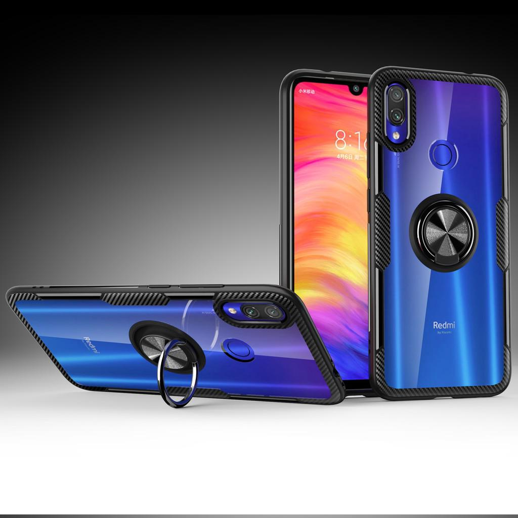 Review Xiaomi Redmi Note 7 5 / Redmi 7 Case Shockproof Armor Tough Transparent Magnetic Ring Stand Hard Cover