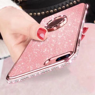 Review OPPO R15 R7 Plus K1 R15X A7X F9 A7 Bling Glitter Diamond Soft Finger Holder Case