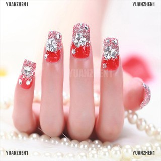 Review 【YUANZHEN1】24 Pcs/Set Women Girl Bride Red 3D Fake Nails Wrapped Tips Artifici