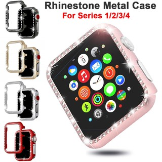 Review Cover Apple Watch Series 4 3 2 1 iWatch 38mm 44mm 40mm 42mm Crystal Diamonds Aluminum Protector Case