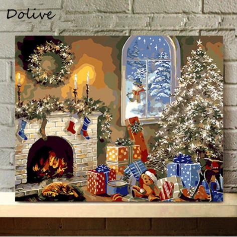 Review DoLive Unframed Diy Paint By Number On Canvas Christmas