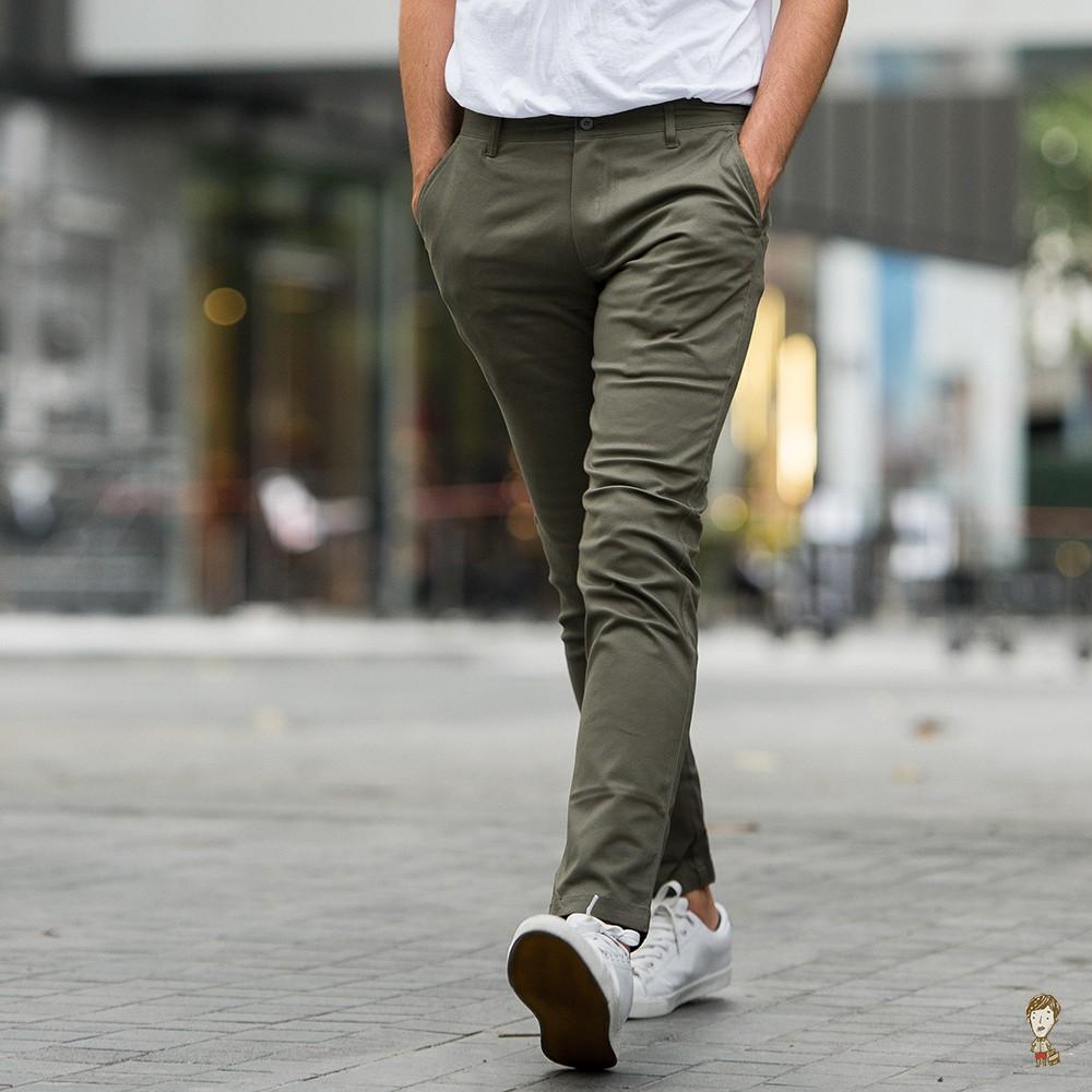 กางเกงขายาวชิโน่ Slim-fit สีเขียวขี้ม้า by สมหมาย