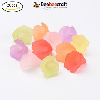 20pcs 20x20mm Mixed Transparent Acrylic Flower Beads, Frosted, Dyed