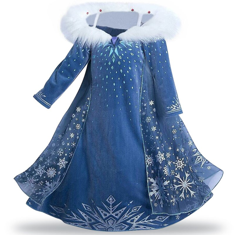 Image # 2 of Review New Snow Queen Dress Kids Cosplay Costume Princess Anna Elsa Dress for Girls Frozen Dresses