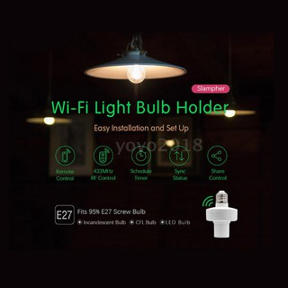 Review Sonoff Slampher RF E27 Wireless LED Bulb Holder Smart 433MHz RF & WiFi Light Screw Bulb Wifi Lamp Socket RF Remote Contr