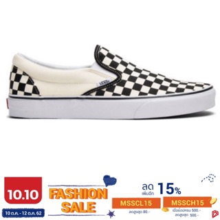 VANS SLIP ON CHECKERBOARD WHITE SNEAKERS สินค้ามีประก
